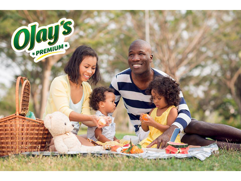 Couple with their kids enjoying picnic